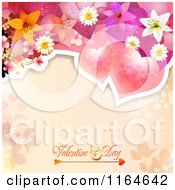 Clipart Of A Valentines Day Background With Roses And Flowers Over Text Royalty Free Vector Illustration