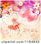 Clipart Of A Valentines Day Background With Hearts Flowers And A Butterfly Royalty Free Vector Illustration