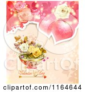 Clipart Of A Valentines Day Background With Roses Hearts And Text 6 Royalty Free Vector Illustration