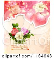 Clipart Of A Valentines Day Background With Roses Hearts And Text 5 Royalty Free Vector Illustration