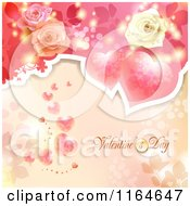 Clipart Of A Valentines Day Background With Roses Hearts And Text 2 Royalty Free Vector Illustration