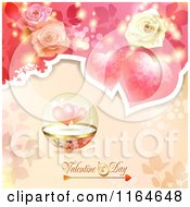 Clipart Of A Valentines Day Background With Roses Hearts And Text 3 Royalty Free Vector Illustration