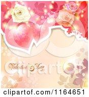 Clipart Of A Valentines Day Background With Roses Hearts And Text Royalty Free Vector Illustration