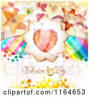Clipart Of A Valentines Day Background With A Dewy Heart And Flowers And A Rainbow Over Text Royalty Free Vector Illustration