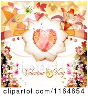 Clipart Of A Valentines Day Background With A Dewy Heart And Flowers Around Text Royalty Free Vector Illustration