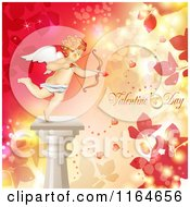 Clipart Of A Valentines Day Background With Cupid On A Pillar Foliage Text And Hearts Royalty Free Vector Illustration