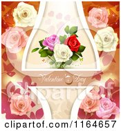Clipart Of A Valentines Day Background With Roses Hearts And Text 10 Royalty Free Vector Illustration