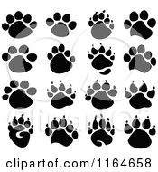 Cartoon Of Black Animal Paw Prints Royalty Free Vector Clipart