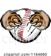 Cartoon Of Bear Paws Clawing A Baseball Royalty Free Vector Clipart