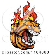 Cartoon Of A Screaming And Flaming Basketball Mascot Royalty Free Vector Clipart
