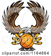 Cartoon Of A Bald Eagle Flying With A Basketball In Its Talons Royalty Free Vector Clipart by Chromaco