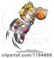 Leaping Blond Basketball Boy
