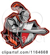 Cartoon Of A Knight With A Red Cape Shield And Sword Royalty Free Vector Clipart