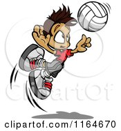 Volleyball Boy Leaping To Hit The Ball
