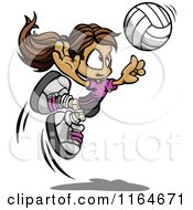 Cartoon Of A Volleyball Girl Leaping To Hit The Ball Royalty Free Vector Clipart