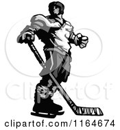 Cartoon Of A Grayscale Hockey Player Looking Over His Shoulder Royalty Free Vector Clipart by Chromaco