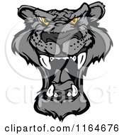 Cartoon Of A Roaring Black Panther Face Royalty Free Vector Clipart