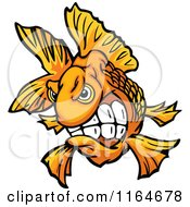 Cartoon Of An Aggressive Goldfish Royalty Free Vector Clipart