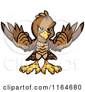 Cartoon Of A Brown Eagle Holding Up Its Wings Royalty Free Vector Clipart