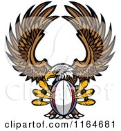 Cartoon Of A Bald Eagle Flying With A Rugby Ball In Its Talons Royalty Free Vector Clipart by Chromaco
