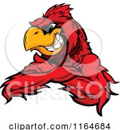 Cartoon Of A Grinning Red Cardinal Bird With Folded Arms Royalty Free Vector Clipart