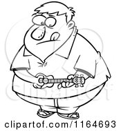 Cartoon Of An Outlined Obese Man Playing A Ukelele Royalty Free Vector Clipart