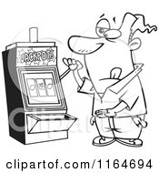 Cartoon Of An Outlined Man At A Casino Slot Machine Royalty Free Vector Clipart by toonaday