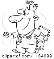 Cartoon Of An Outlined Happy Male Nurse Carrying A Clipboard Royalty Free Vector Clipart by toonaday