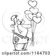 Cartoon Of An Outlined Happy Man Holding Out Valentine Heart Balloons Royalty Free Vector Clipart
