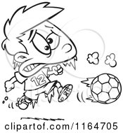 Cartoon Of An Outlined Frozen Boy Playing Soccer Royalty Free Vector Clipart