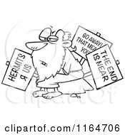 Cartoon Of An Outlined Old Hermit Man With Signs Royalty Free Vector Clipart