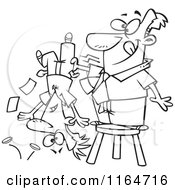 Cartoon Of An Outlined Man Standing On A Stool And Shaking Money From A Guys Pockets Royalty Free Vector Clipart