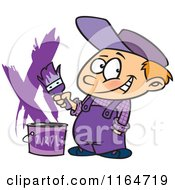 Cartoon Of A Painter Boy With A Bucket Of Purple Paint Royalty Free Vector Clipart by toonaday
