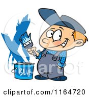 Cartoon Of A Painter Boy With A Bucket Of Blue Paint Royalty Free Vector Clipart by toonaday