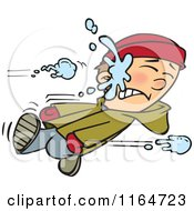 Cartoon Of A Boy Getting Smacked With A Snowball Royalty Free Vector Clipart
