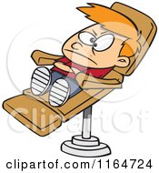 Cartoon Of A Stubborn Boy In A Dentist Chair Royalty Free Vector Clipart