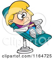 Cartoon Of A Stubborn Girl In A Dentist Chair Royalty Free Vector Clipart by toonaday