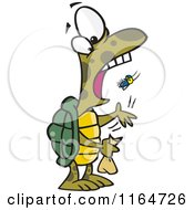 Cartoon Of A Tortoise Popping A Fly Into His Mouth Royalty Free Vector Clipart by toonaday