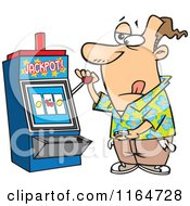 Cartoon Of A Man At A Casino Slot Machine Royalty Free Vector Clipart