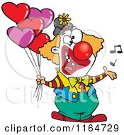 Cartoon Of A Clown Singing And Holding Valentines Day Balloons Royalty Free Vector Clipart