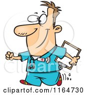 Cartoon Of A Happy Male Nurse Carrying A Clipboard Royalty Free Vector Clipart by Ron Leishman