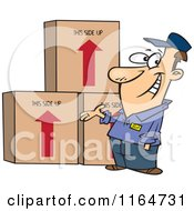 Cartoon Of A Happy Male Mover Presenting Boxes Royalty Free Vector Clipart