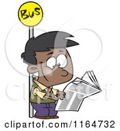 Cartoon Of A Happy Black Boy Reading A Newspaper At A Bus Stop Royalty Free Vector Clipart by toonaday