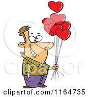 Cartoon Of A Happy Man Holding Out Valentine Heart Balloons Royalty Free Vector Clipart