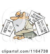 Cartoon Of An Old Hermit Man With Signs Royalty Free Vector Clipart by toonaday