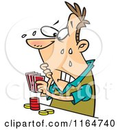Cartoon Of A Flushed Man Playing Poker Royalty Free Vector Clipart