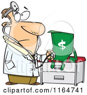 Cartoon Of A Male Doctor Diagnosing The Dollar Royalty Free Vector Clipart by toonaday