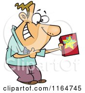 Cartoon Of A Male Autor Suggesting His Book Royalty Free Vector Clipart