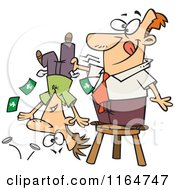 Cartoon Of A Man Standing On A Stool And Shaking Money From A Guys Pockets Royalty Free Vector Clipart