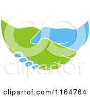 Clipart Of A Green And Blue Handshake 2 Royalty Free Vector Illustration
